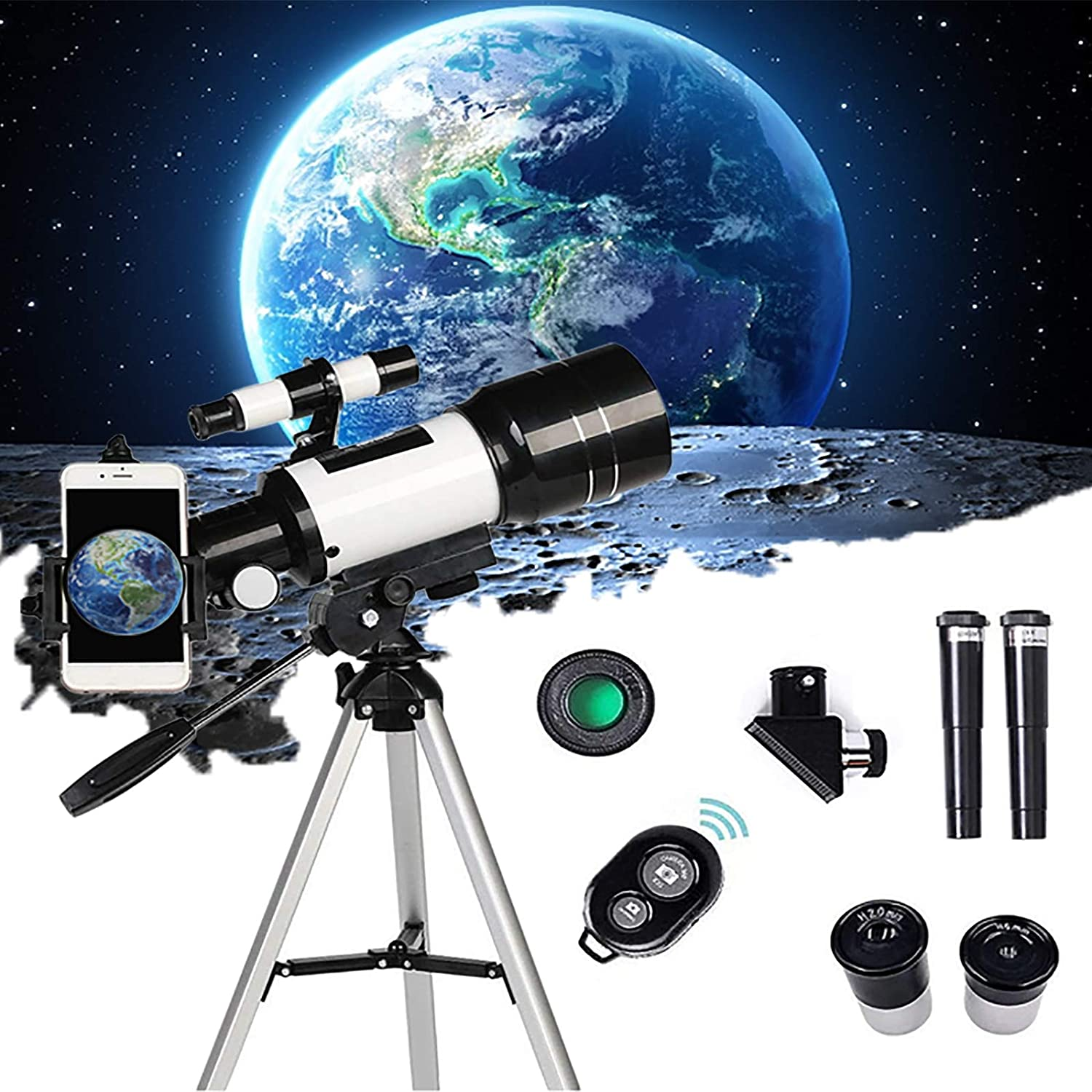 Telescopes for Astronomy Beginners, 70mm Aperture 300mm AZ Mount, Portable 15-150X Astronomical Refractor Travel Telescope, with Tripod and Phone Adapter and Bluetooth Remote for Kids and Adults…