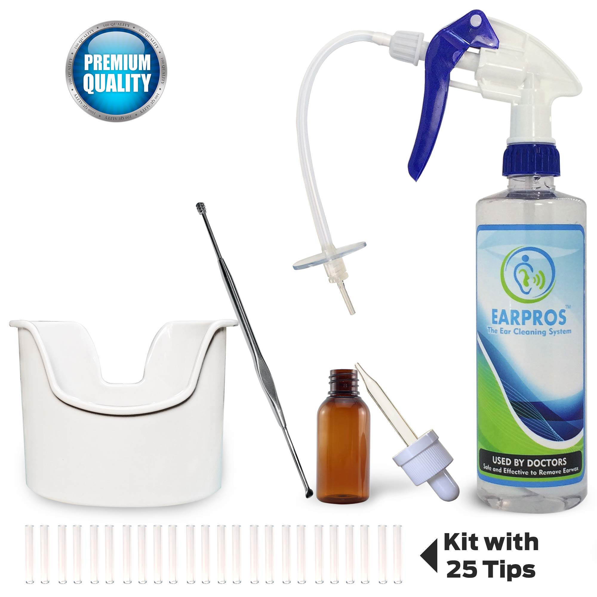 EARPROS Ear Cleaning System with Accessories 25 Tips Included Ear Washer Bottle Ear Wax Removal Kit (Blue)