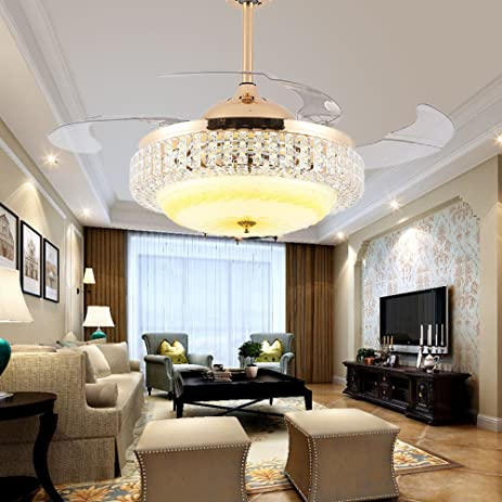 RS Lighting Retractable Blades Ceiling Fan 42 Inch Invisible And Powerful Romantic Star