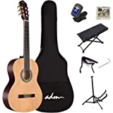 ADM Full Size Classical Nylon Strings Acoustic Guitar with Gig Bag, E-tuner, Footstool, Kids Student Beginner Kits…