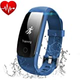 Fitness Tracker with Heart Rate Monitor, MUXI Slim Touch HR Waterproof Activity Tracker Wearable Smart Wristband,Bluetooth Pedometer with Call/SMS Remind for iOS Android Smartphone