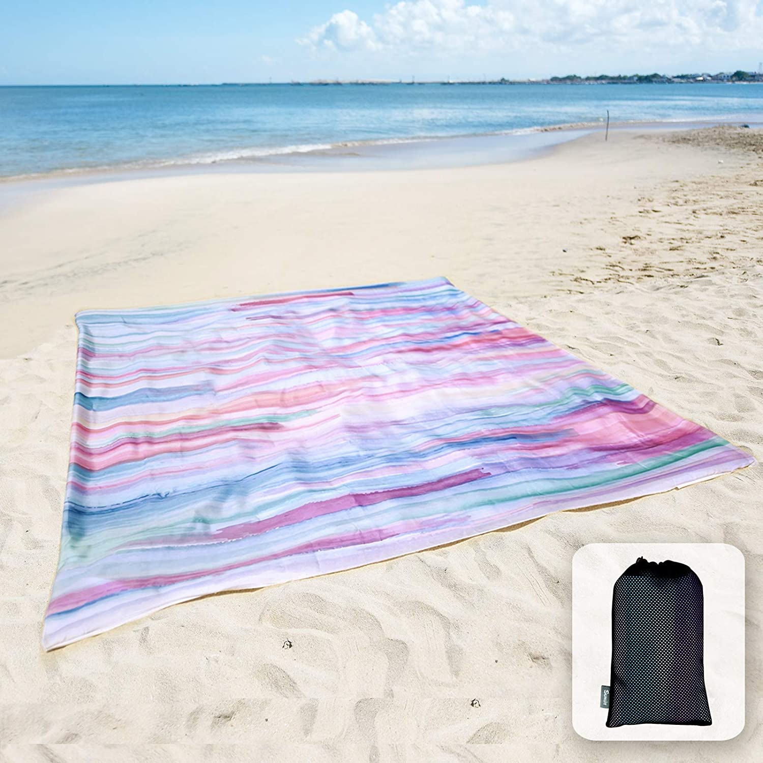 Sunlit Silky Soft Sand Poof Beach Blanket Sand Proof Mat with Corner Pockets and Mesh Bag for Beach Party, Travel, Camping and Outdoor Music Festival, Watercolor Painting, Macaron Blue and Pink