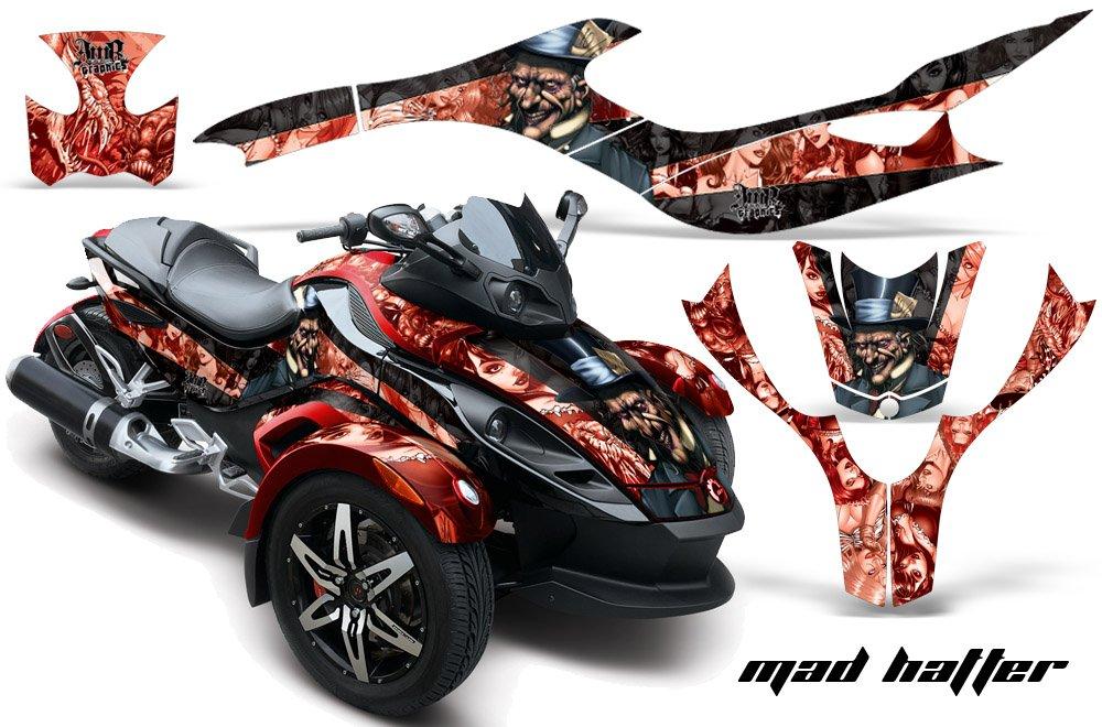 AMR Racing Graphics Can - Am Spyder 2010ロードスタービニールラップキット – Mad Hatterレッドブラック   B01MUA7FZP