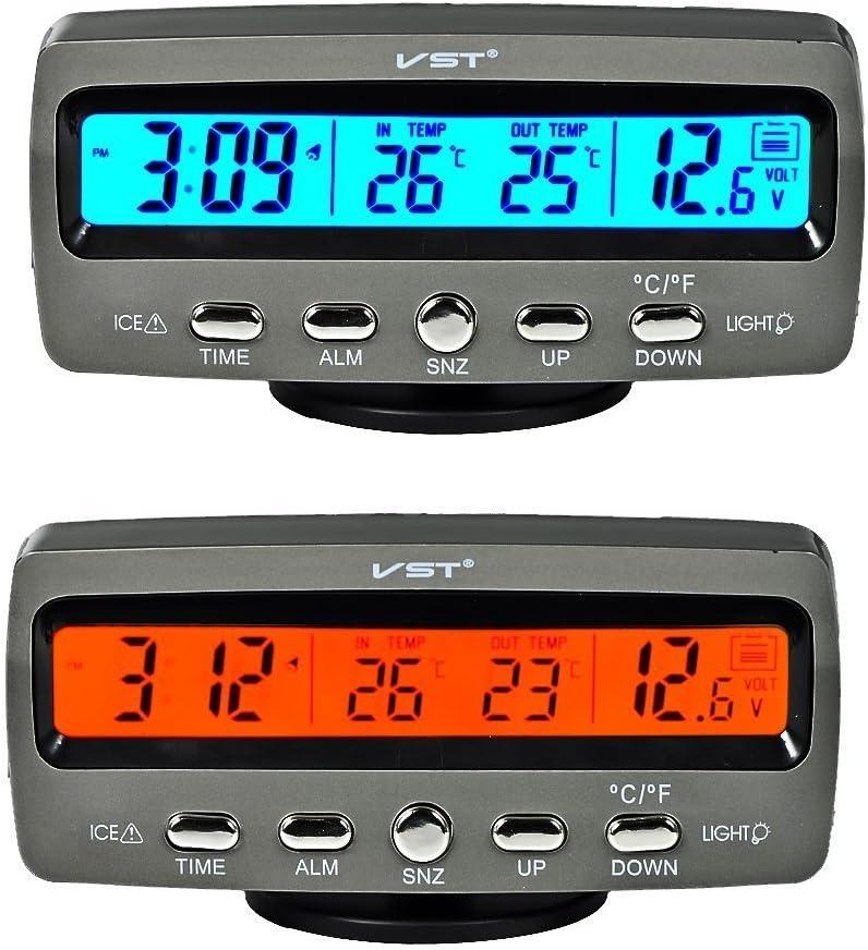 Itian LCD Automoción Electrónico Relojes, Interior del Coche y Termómetro Exterior, Monitorización de Voltaje, Despertador, Multifuncional Mesa