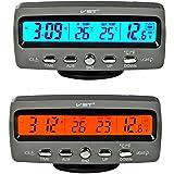 Itian LCD Automoción Electrónico Relojes, Interior del Coche y Termómetro Exterior, Monitorización de Voltaje