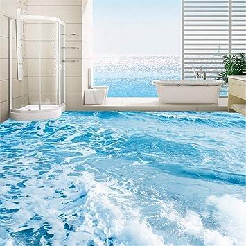 Zybnb Benutzerdefinierte 3d Boden Wandbild Tapete Meer Wasser Wellen