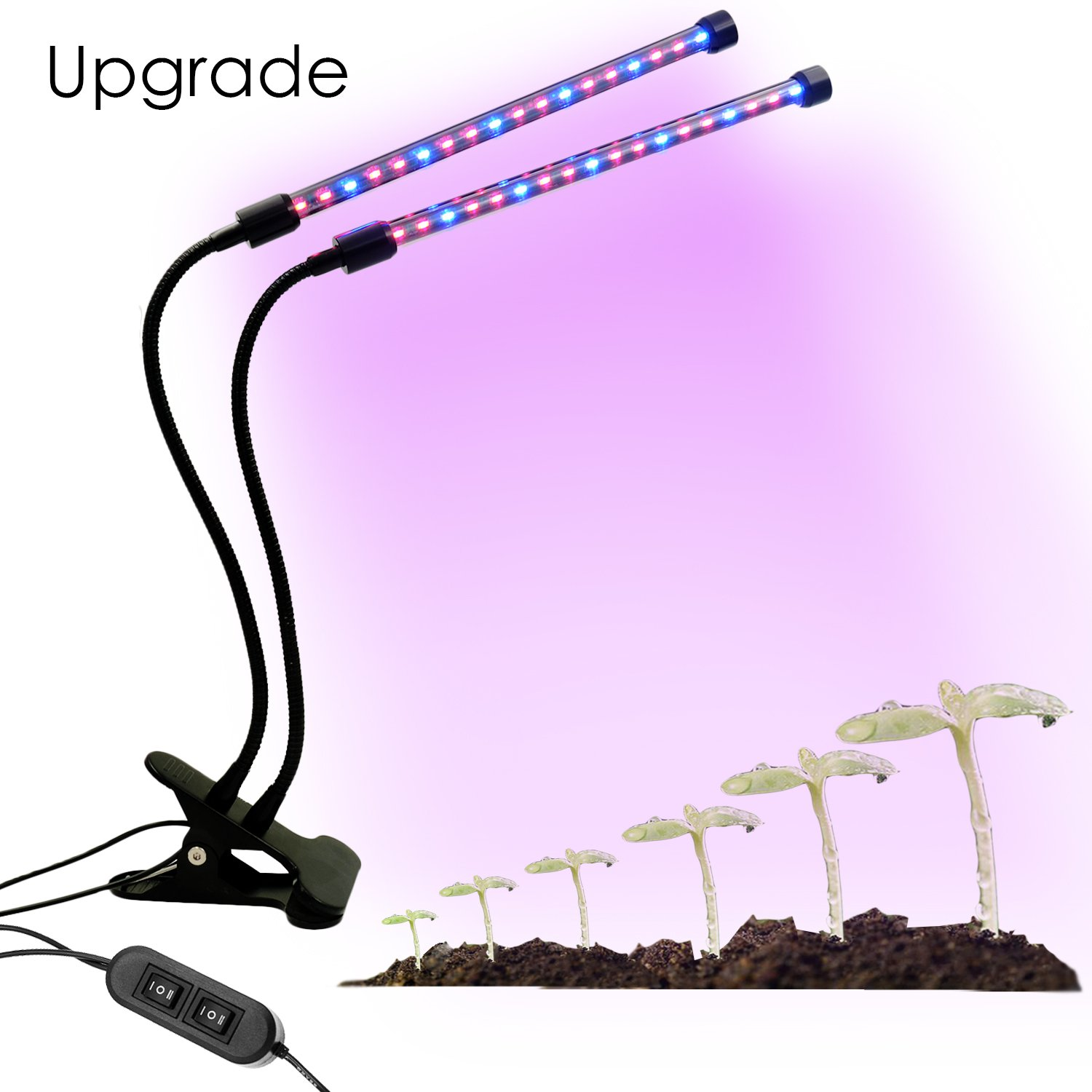 IdentikitGift Dual Head LED Plant Grow Light 18 W 2 Dimmable Levels Grow Lamp Bulbswith Adjustable Flexible 360 Degree Gooseneck for Indoor Plants Hydroponics Greenhouse Gardening 2017 NEW upgrade