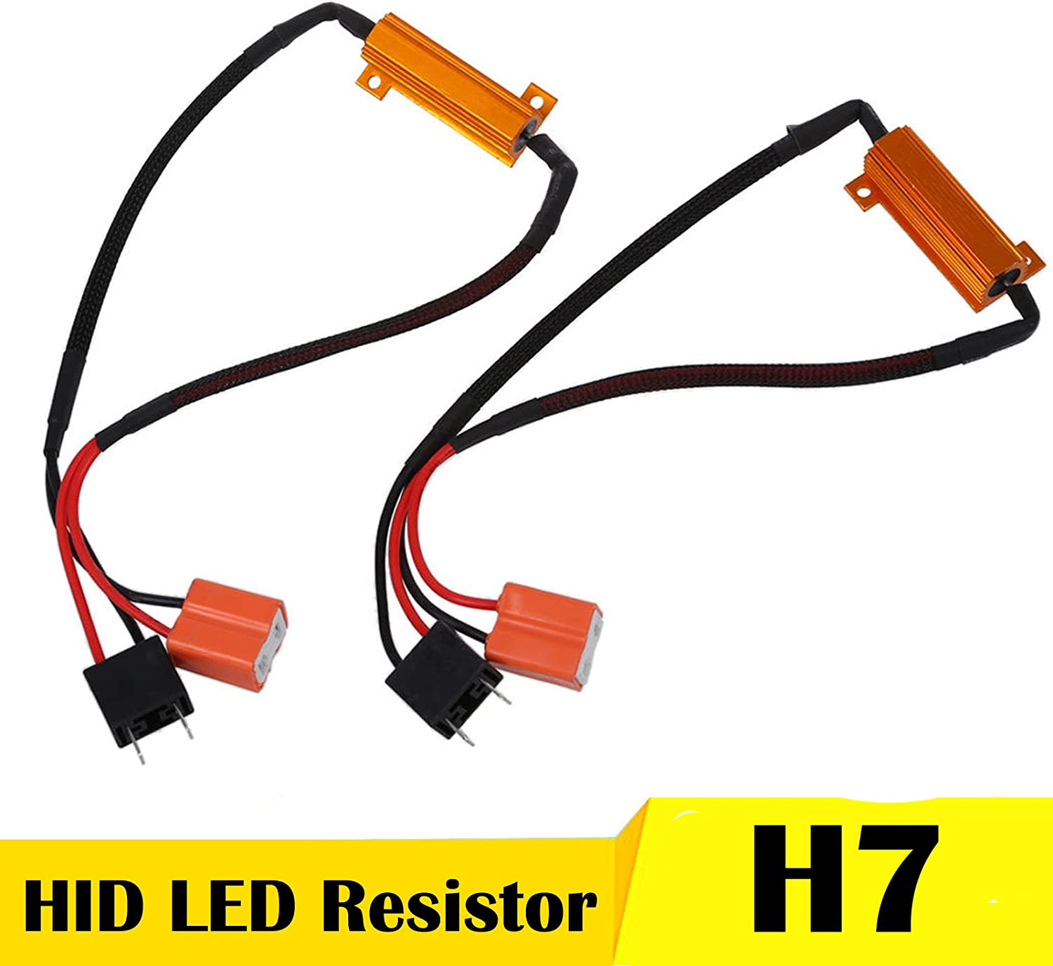 2 Pairs Fix Hyper Flash, Warning Cancellor XtremeVision 50W 6Ohm LED Load Resistors for LED Turn Signal Lights or LED License Plate Lights