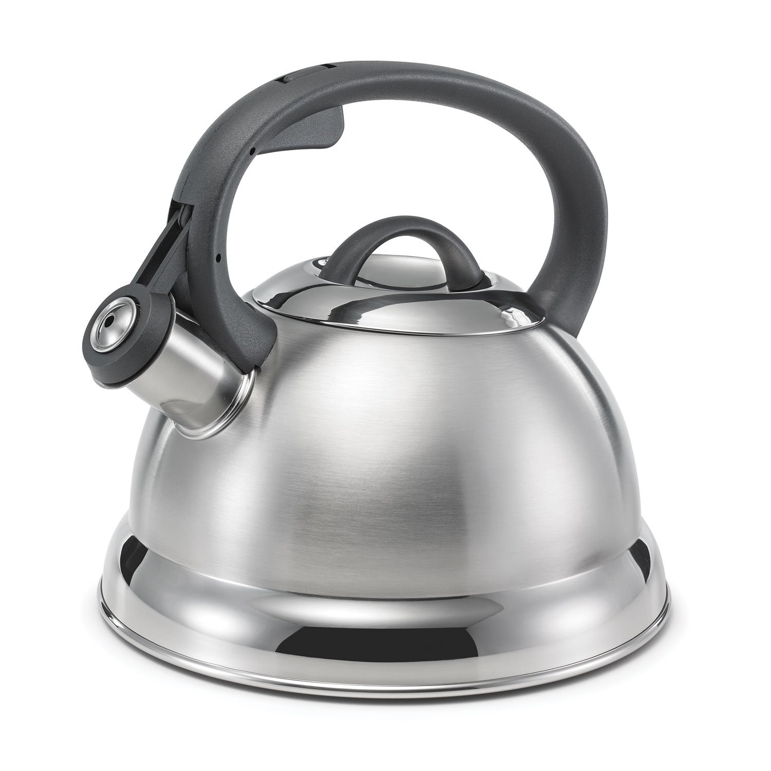 Polder KTH-145-47 Retro Whistling Tea Kettle, 2.4-Quart, Stainless Steel, 3-Ply Encapsulated Base Heats Water Fast