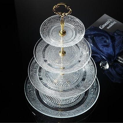 Amazon.com | 4-tier Round Glass Wedding Cake Stand Cupcake Tree for ...