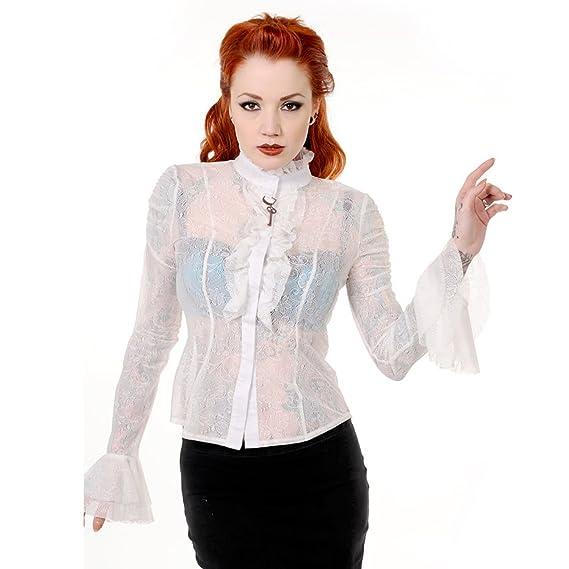 521f5c861b2 Banned Gothic Victorian Steampunk Floral Lace Key Seductive LARP Blouse Top   Amazon.co.uk  Clothing