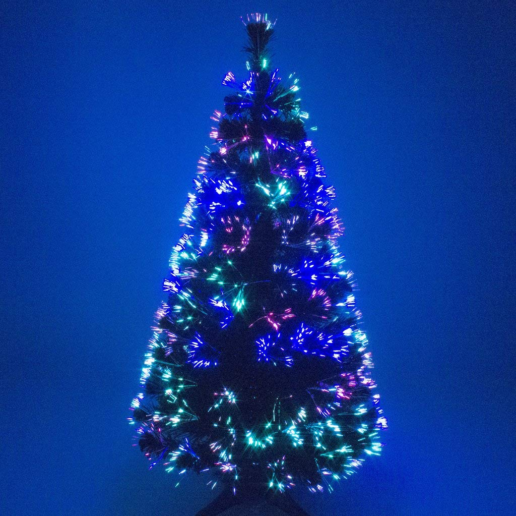 6ft Grün Künstliche LWL Weihnachten Xmas Tree mit Multi-LED-Quelle 180cm
