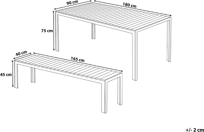 Beliani Juego de Muebles de jardín Aluminio Gris – Mesa 180 cm – 2 ...