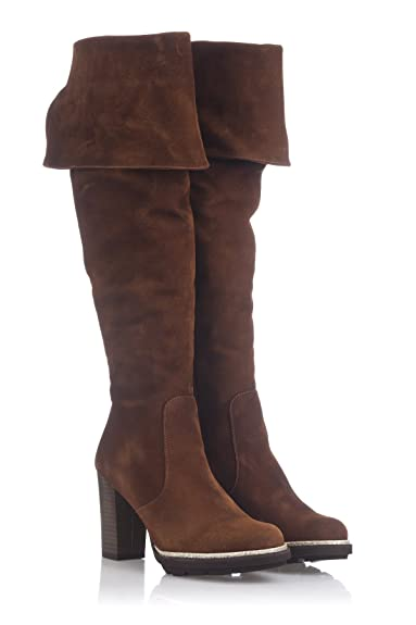 Laura Moretti Damen Musketeer High Boot Above The Knee and Sole Heeled Platform Stiefel