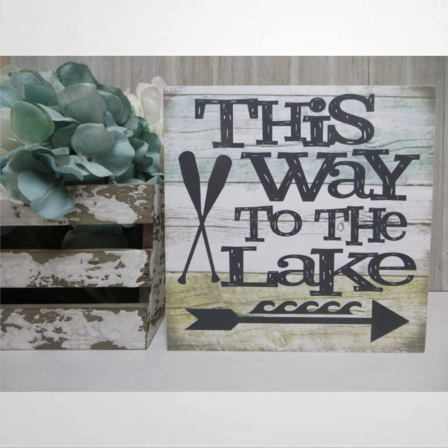 DONL9BAUER Wood Lake Sign, This Way to The Lake, Lake House Sign, Wall Hanging Home Decor, Lake House Decor, Lake Lover Present