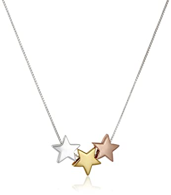 Amazon tri colored sterling silver with yellow and rose gold tri colored sterling silver with yellow and rose gold flashed three star pendant necklace 18quot mozeypictures Image collections