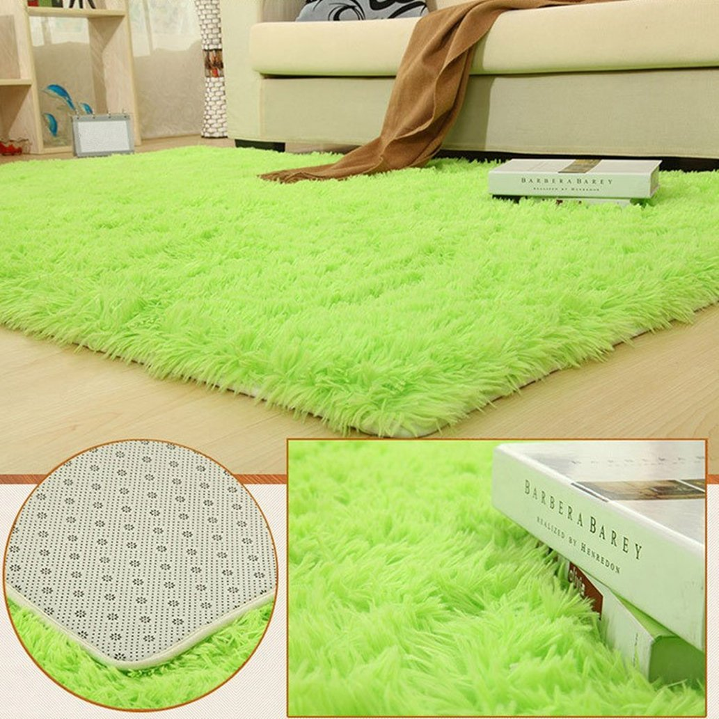 BlueSnail Super Ultra Soft Modern Shag Area Rugs, Bedroom Livingroom Sittingroom Floor Rug Carpet Blanket for Children Play Home Decorate (4' x 5.3', Rectangle, Apple Green) by BlueSnail