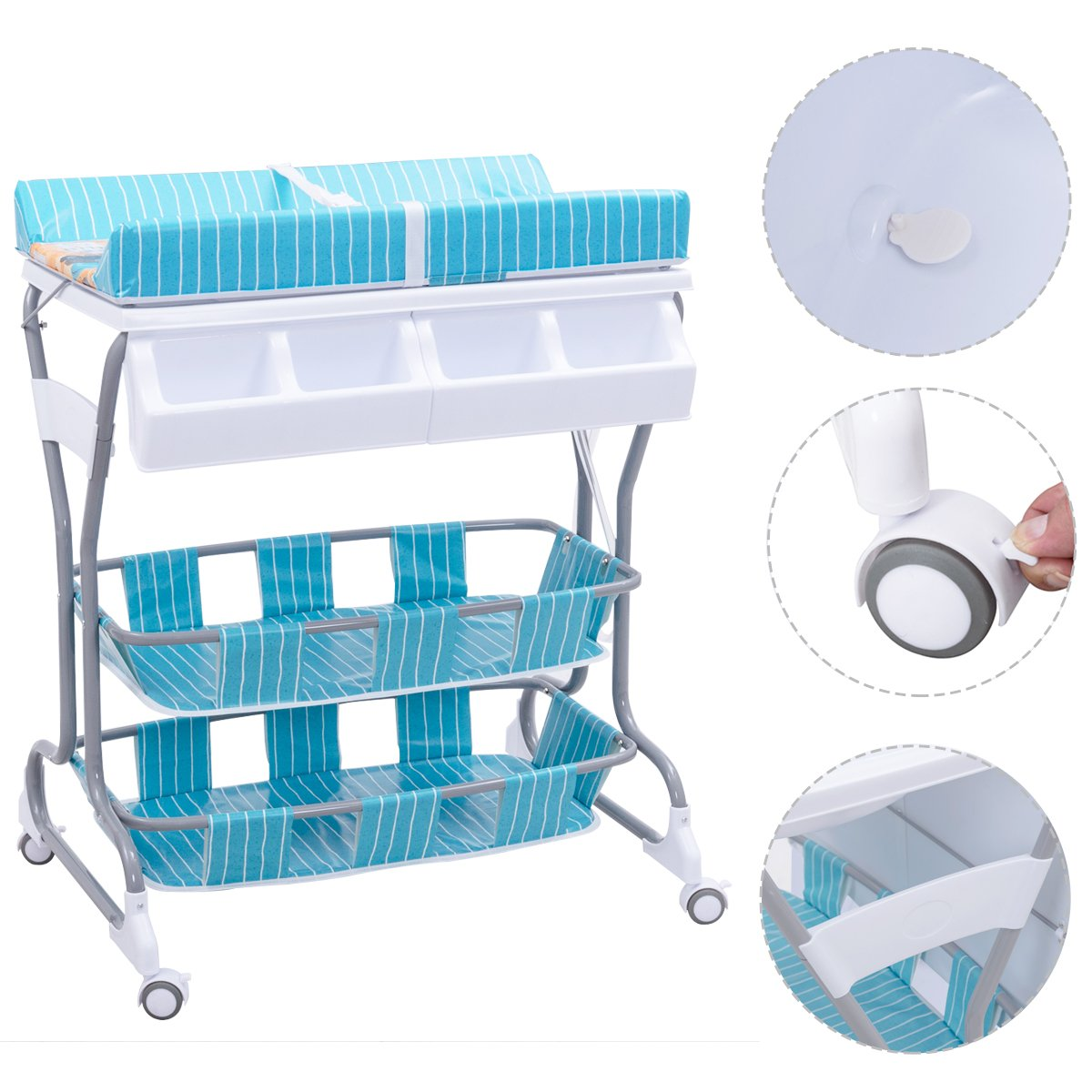 Pink Costway 2 in 1 Infant Changing Table Baby Bath Tub Unit Rolling Station Storage Dresser