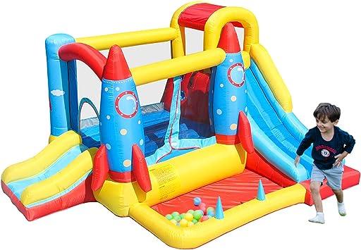AirMyFun Casa Inflable, Castillo rebotador con soplador de Aire, casa de Juegos con Pala de Pelota, tobogán Inflable para niños, Castillo Saltando con Bolsa de Transporte (Tema Cohete): Amazon.es: Juguetes y juegos