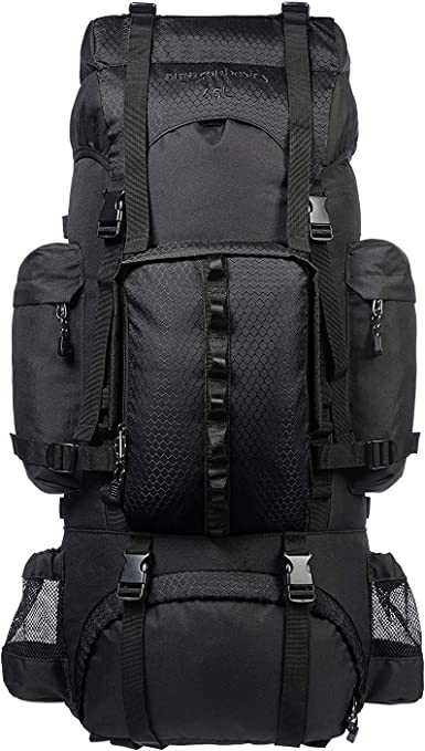 55L Travel Backpack Thick And Strong Black Laptop Backpack for Outdoor Camping Trekking Tourist Hiking Backpack Water Resistant Fabric Hiking Rucksack