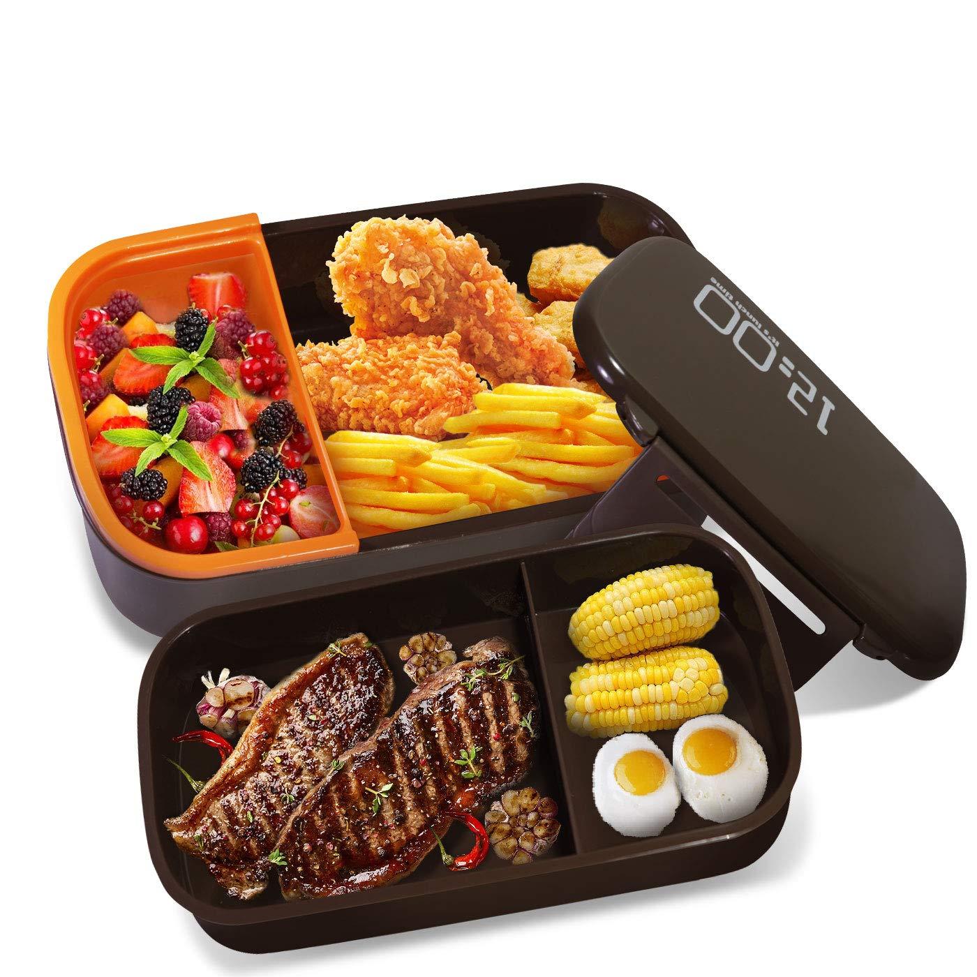 Oursun Bento Box Trabajo Microondas Fiambrera para Sandwich Lunch Box con Compartimentos, Contenedor Alimentos 100% sin bpa, Caja Fuerte para Microondas y ...