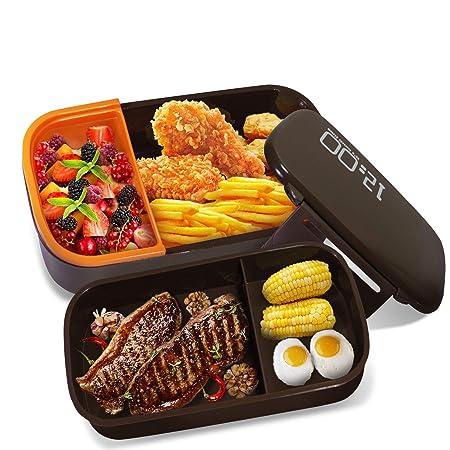 Oursun Bento Box Trabajo Microondas Fiambrera para Sandwich Lunch Box con Compartimentos, Contenedor Alimentos 100% sin bpa, Caja Fuerte para ...