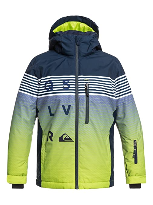 Quiksilver Mission - Chaqueta Para Nieve para Chicos, Verde (Lime Green/ Block Volley