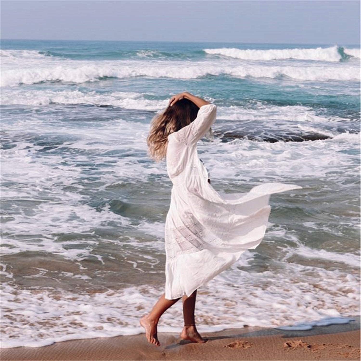 Cotton Beach Cover up Kaftan Sarong Bathing Suit Lace Cover ups Beach Pareo Swimsuit Cover up,White,One Size