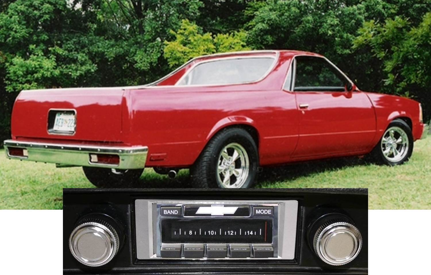 1978-1985 Chevrolet El Camino USA-630 II High Power 300 watt AM FM Car Stereo/Radio with AUX Input, USB Input, iPod Docking Cable. No modifications to original dash required.