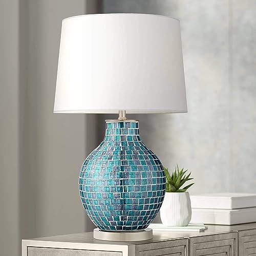 Modern Table Lamp Mosaic Teal Tiles Glass Jar Shaped White Drum Shade for Living Room Family Bedroom Bedside – 360 Lighting