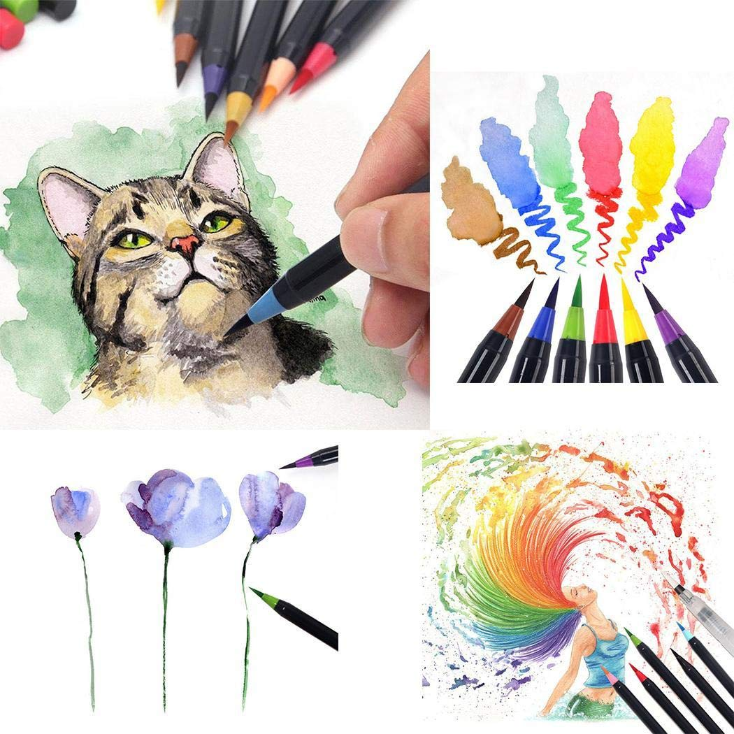 GuGio Watercolor Brush Markers Pen, Water Based Drawing Marker Brushes W/A Water Coloring Brush, Water Colored Ink W/Soft Flexible Tip for Adult Coloring Books, Manga, Comic, Calligraphy (1 pc)