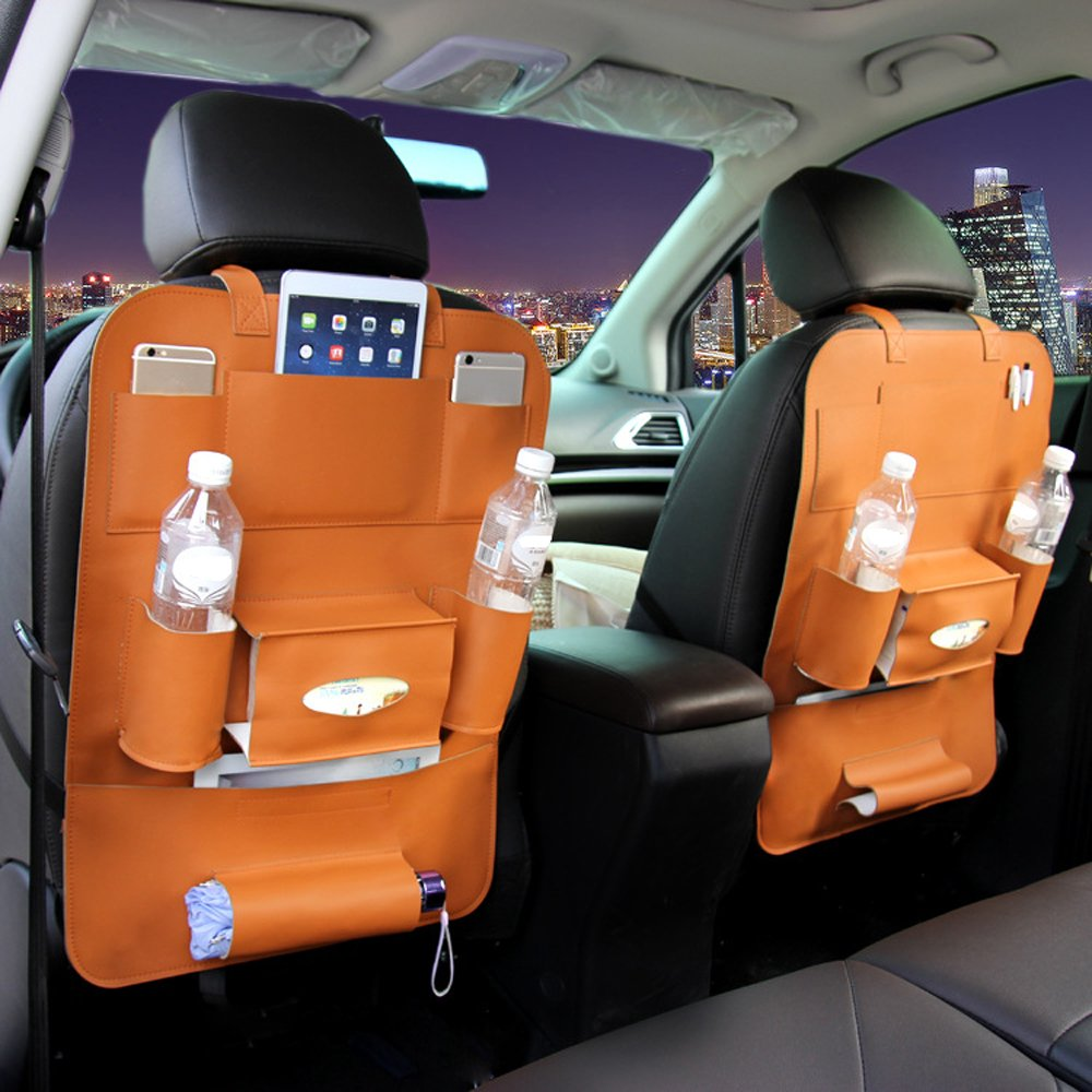 KKmoon Car Seat Back Bag 40 56CM Universal Receiving Bags for Car Multifunctional Leather Seat Back Organizer Bag Orange