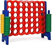 COSTWAY Jumbo 4-to-Score Giant Game Set, 4 in A Row for Kids and Adults, 3.5FT Tall Indoor & Outdoor Game Set with 42 Jumbo