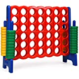 COSTWAY Jumbo 4-to-Score Giant Game Set, 4 in A Row for Kids and Adults, 3.5FT Tall Indoor & Outdoor Game Set with 42…