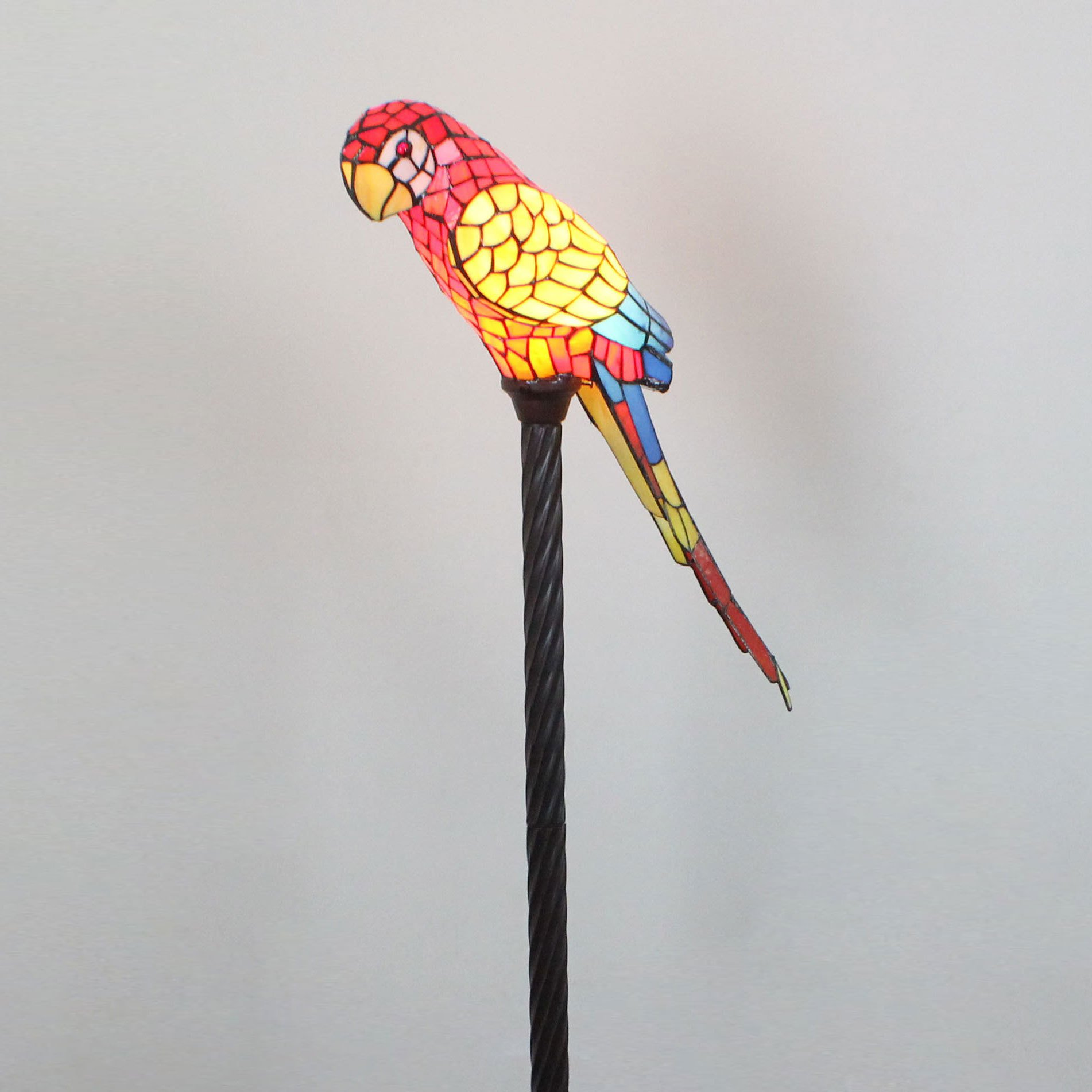 Royal-Tiffany Style Red Parrot Floor Lamp Children's Lamp Night Light
