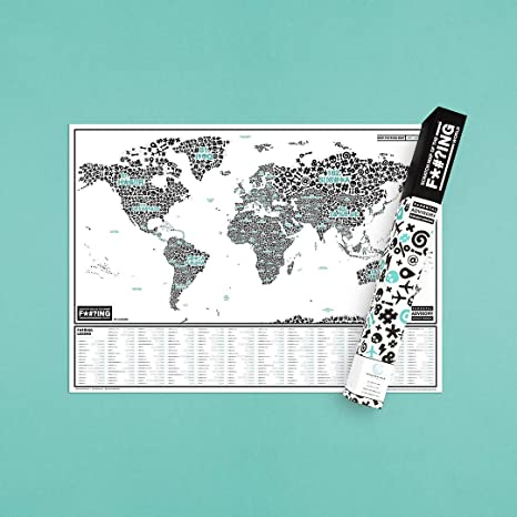 Amazon.com : Scratch Map of The F#?ing World - Scratch Off ...