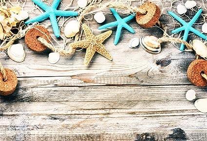 646b413b96 Yeele 7x5ft Vinyl Nautical Backdrop for Photography Seaside Starfish Conch  Mussel Shells Wooden Board Background Marine