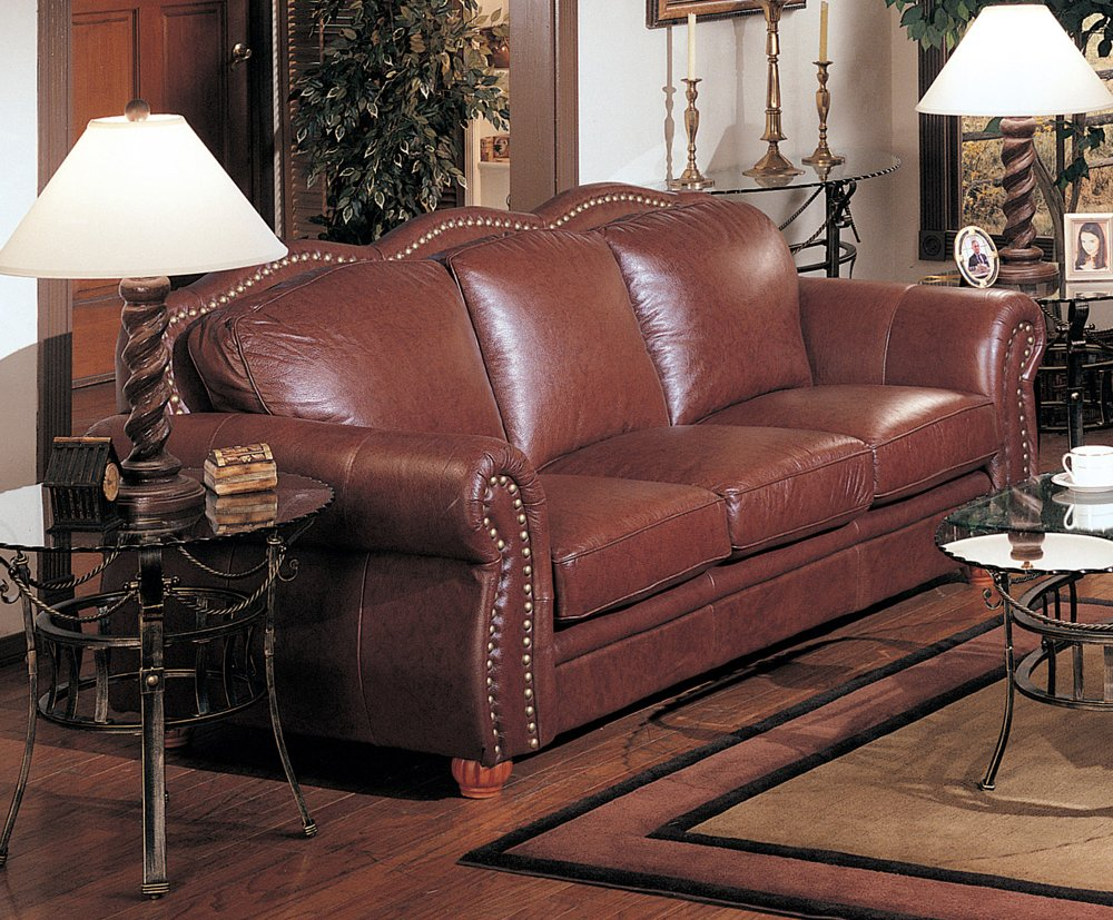 Amazon Com Cognac Finish 100 Real Italian Leather Sofa Couch  ~ Leather Sofa With Nailheads