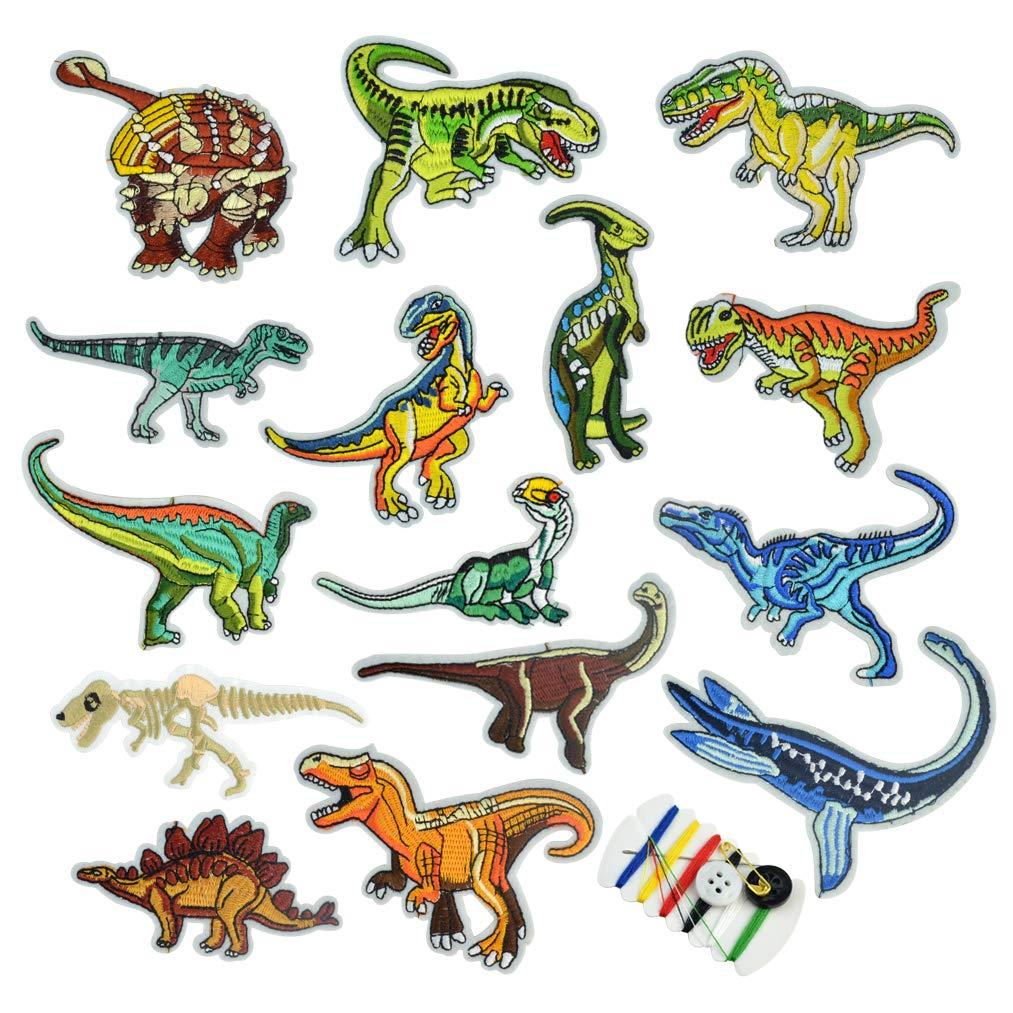 baotongle 15 Stück Bügelflicken Kinder Bügelflicken Set Patches zum Aufbügeln Dinosaurier Aufnäher Applikation Flicken Zum Aufbügeln für DIY T-Shirt Jeans Kleidung,Flicken Patches
