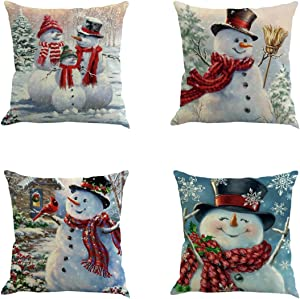 XIECCX Throw Pillow Cover 18 x 18 Inches Set of 4 - Christmas Series Cushion Cover Case Pillow Custom Zippered Square Pillowcase(Christmas Snowman)