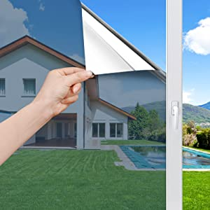 Haton One Way Mirror Window Film Daytime Privacy Window Tint Reflective Heat Control Anti UV Glass Covering Adhesive Window Stickers for Home and Office, 17.5 x 78.7 inches, Silver