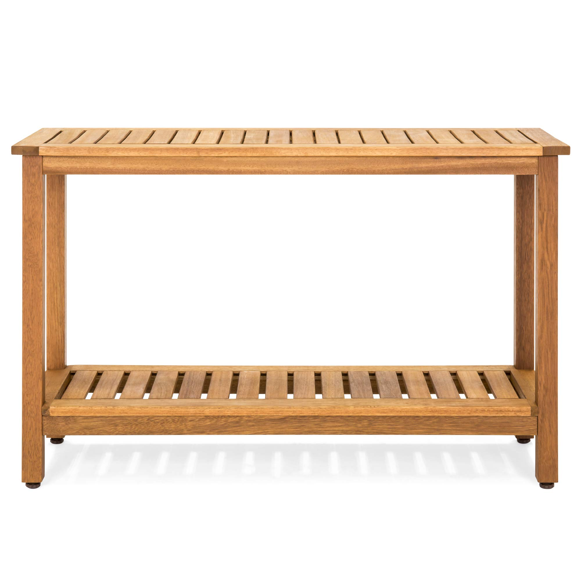 Best Choice Products 48in 2-Shelf Indoor Outdoor Multifunctional Eucalyptus Wood Buffet Bar Storage Console Table Organizer - Natural