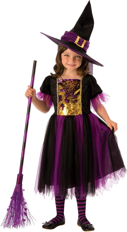 Halloween - Disfraz de Bruja para niña, dorado y morado - 3-4 años (Rubie's 641101-S)