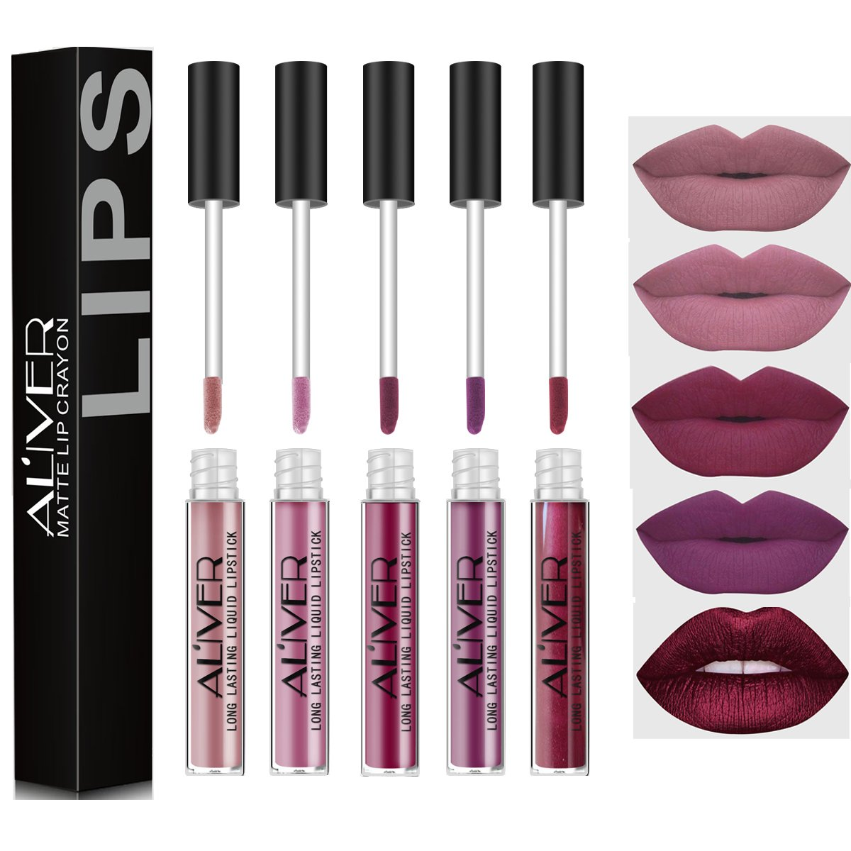 ALIVER 5 Pcs Matte Liquid Lipstick Waterproof Long-Lasting Pigmented Lip Gloss Set (# 1.5.6.7.12)