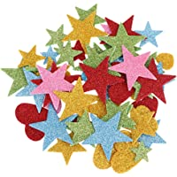 NUOBESTY 240pcs Glitter Foam Stickers Self-Adhesive Foam Heart Star Stickers for Kids DIY Craft Arts Greeting Cards Scrapbooking Valentines Day Party Nursery Wall Decor