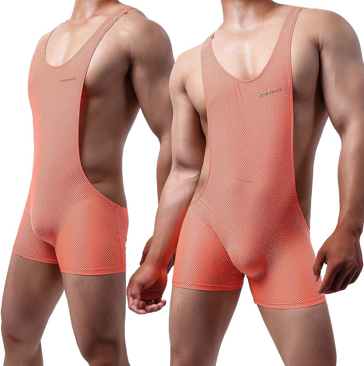 YUFEIDA Mens Athletic Supporters Mesh Breathable Bodysuit Wrestling Leotard Stretchy Base Layers Boxer Singlet