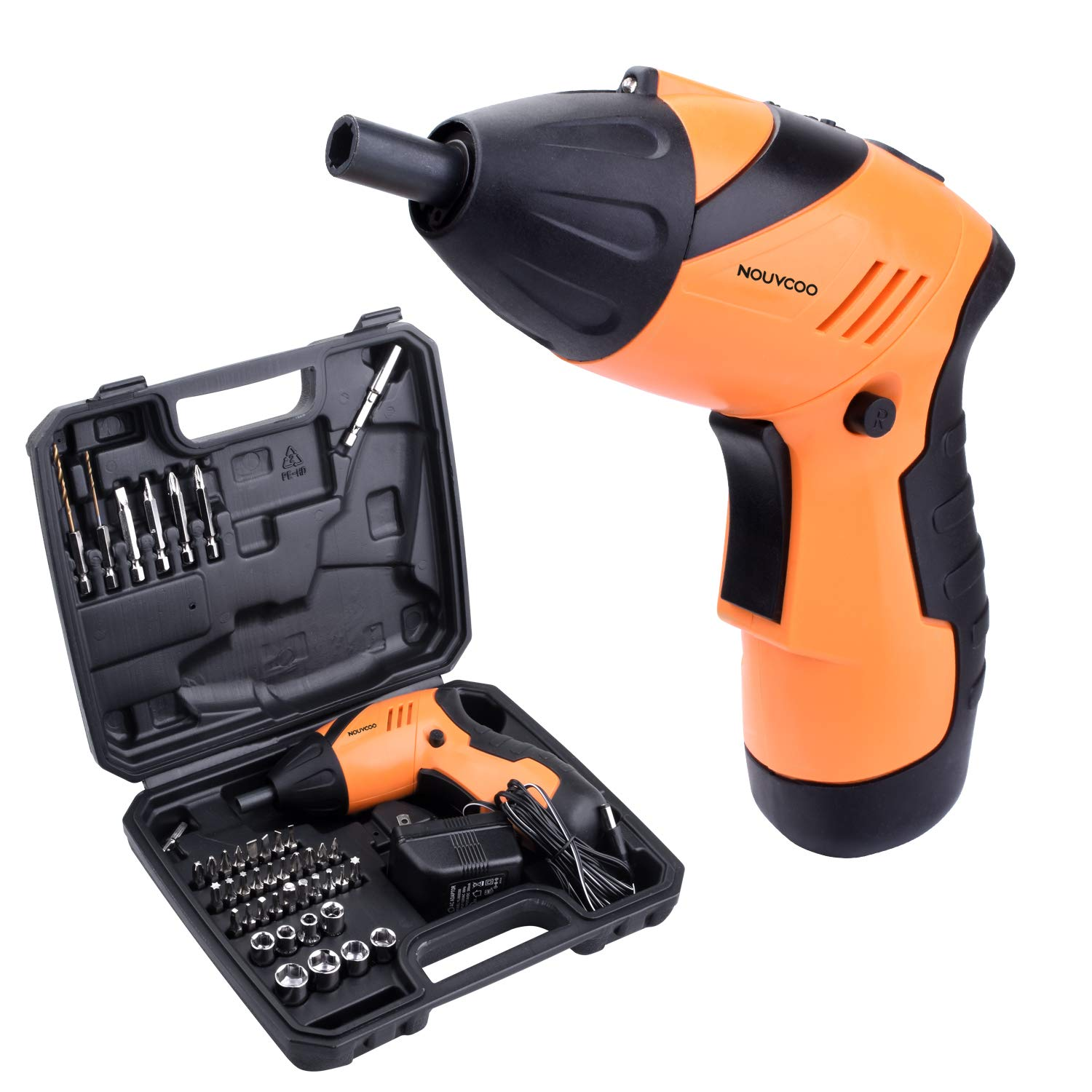 NOUVCOO 45 in 1 Portable Electric Cordless Rechargeable Screwdriver kit,4.8V Cordless Drill Power Tools with Led&43pcs Screws Sleeves and Drill Bits with case NC09 by NOUVCOO