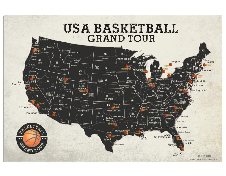 Amazon.com: GeoJango Basketball Stadium Map Poster (30x20 ...