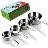 Gelindo Stainless Steel Measuring Cups – 4Pcs (60ML/80ML/125ML/250ML)- Food Grade Metal Measure Cup – Lifetime Diet Measuring-Cups with Engraved Measurements