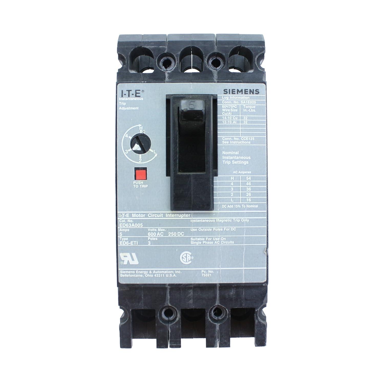 Siemens ITE ED63A005 TypeED6-ETI 3 POLE 5 AMP Motor Circuit ...